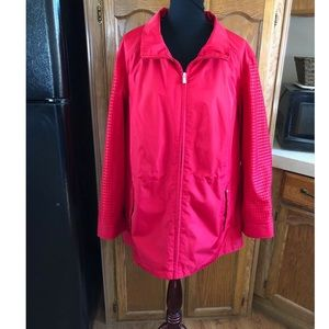 Susan Graver Red Mesh Sleeve Accent Jacket 2X